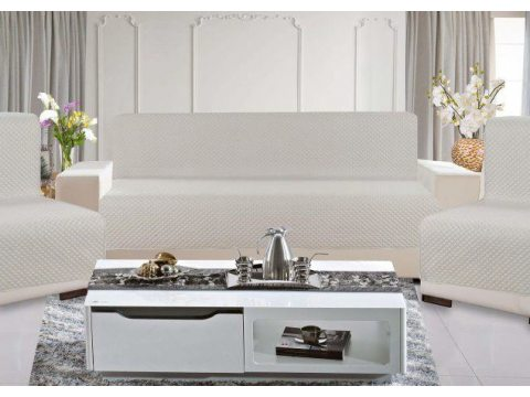 Kpl. Narzuta na sofę jednobarwna 160x210 +2 /70x160 Diamond  Jasny Szary