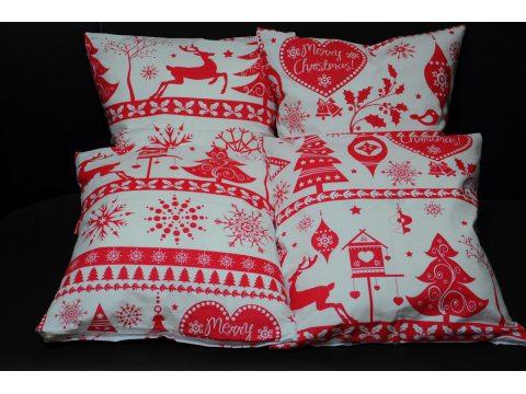 Poszewka bawełniana Świąteczna 40x40 Magiczna czerwona Greno   2 szt