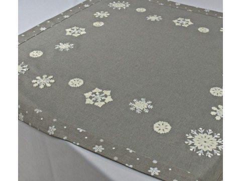 Bieżnik świąteczny - szary z jasno kremowymi śnieżynkami - 85x85 cm - wz. 15938