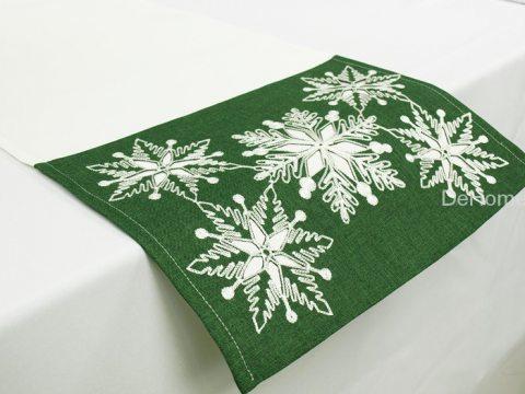 Haftowany bieżnik świąteczny  40x110 cm Laufer zielony 15974