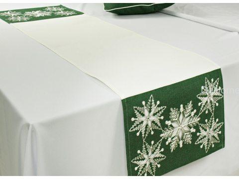 Haftowany bieżnik świąteczny  40x140 cm Laufer zielony  15974