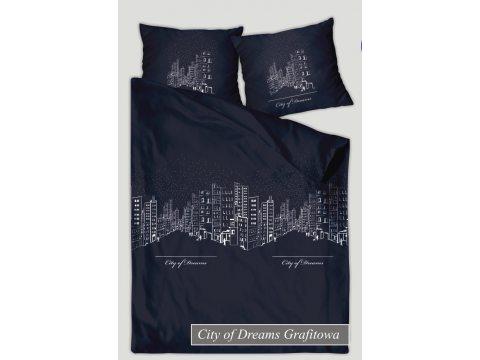 Pościel satynowa XQ 220x200 City Of Dream Grafit Greno