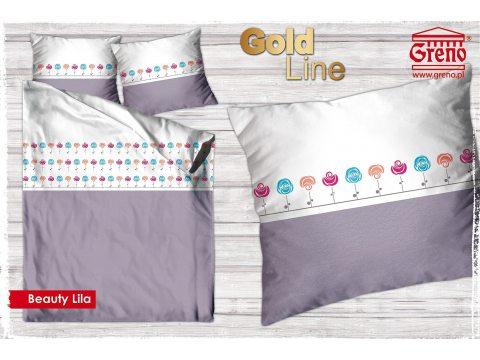 Pościel z bawełny satynowej  Beauty Lila 160x200 Gold Line Greno
