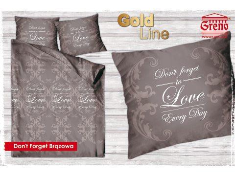 Pościel z bawełny satynowej  Don't Forget  Brązowa 160x200 Gold Line Greno