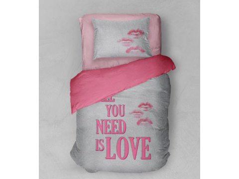 Pościel z bawełny 160x200 + 1 szt 70X80  wz. 2404 A  All you need is love