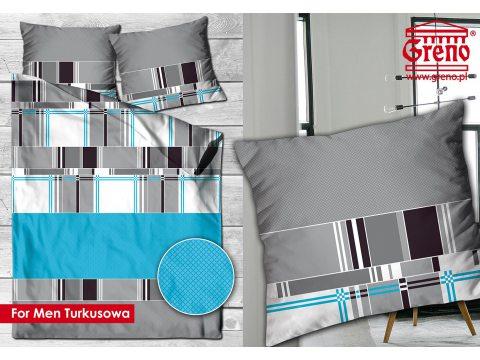 Pościel  satynowa 220x200 For Men Turkusowa Greno Gold Line
