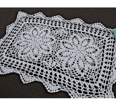 Serwetka szydełkowa - biała - 30x45 cm - wz. 4660
