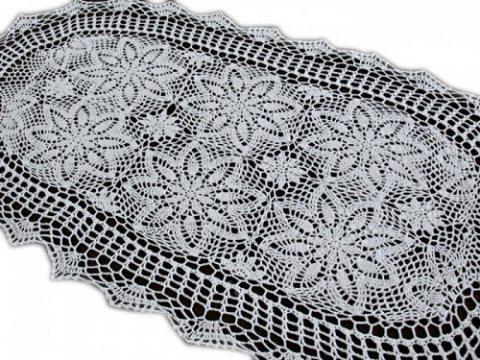 Bieżnik szydełkowy - biały - 60x120 cm - wz. 4660 owal