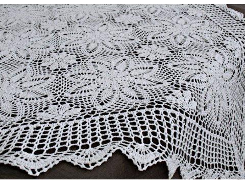 Bieżnik szydełkowy - biały - 85x85 cm - wz. 4660