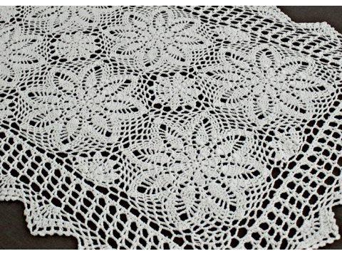 Bieżnik szydełkowy - biały - 60x120 cm - wz. 4660