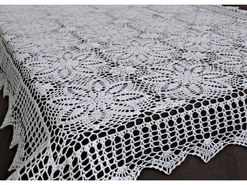 Obrus szydełkowy 120 x 160 cm 4660  Biały