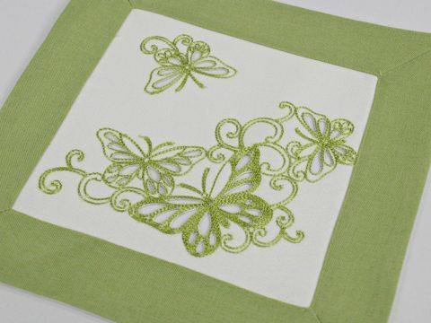 Serwetka haftowana 25x25 cm 15794 Motylki  zielone