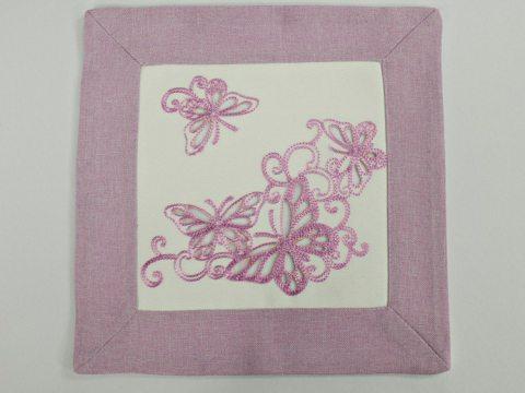 Serwetka haftowana 25x25 cm 15794 Motylki  wrzos