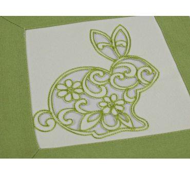 Serwetka haftowana 25x25 cm  15721 Zajączek zielony