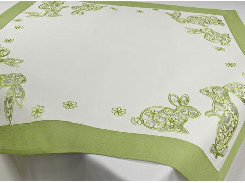 Bieżnik haftowany świąteczny - biało-zielony z zajączkiem wielkanocnym - 85x85 cm - wz. 15721