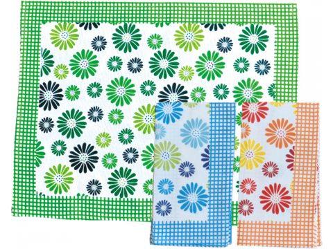 Ściereczka kuchenna 55 x 66 Stokrotki zielone