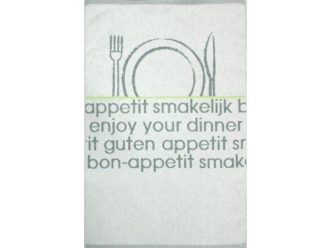 Ściereczka kuchenna - Bon Appetit - srebrna, zielona z zastawą -  50x70 cm - Nowo Gusto - Greno
