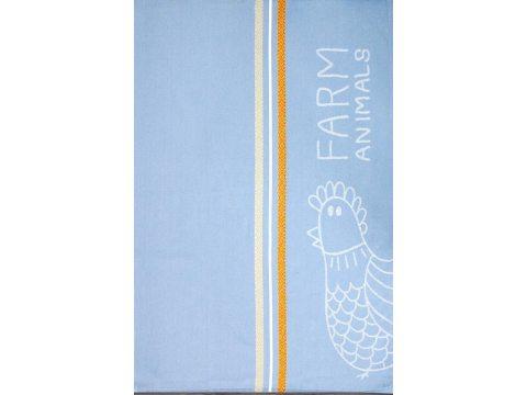 Ściereczka kuchenna - Tikka - niebieska z kurą -  50x70 cm - Nowo Gusto - Greno