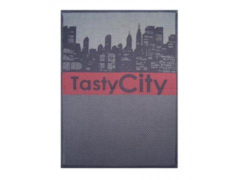 Ściereczka kuchenna - Tasty City Czerwony - srebrna, czerwona z miastem - 50x70 cm - Exclusive Greno