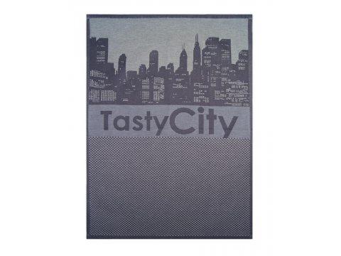 Ściereczka kuchenna - Tasty City Stalowy - srebrna z miastem - 50x70 cm - Exclusive Greno