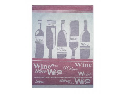 Ściereczka kuchenna - Wine Bordo - bordowy, srebrny z winami - 50x70 cm - Exclusive Greno