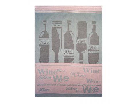 Ściereczka kuchenna - Wine Łosoś - różowy, srebrny z winami - 50x70 cm - Exclusive Greno