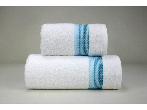 Ręcznik Ombre  - biały z niebieską bordiurą - 70x140 cm - Fine Collection - Greno