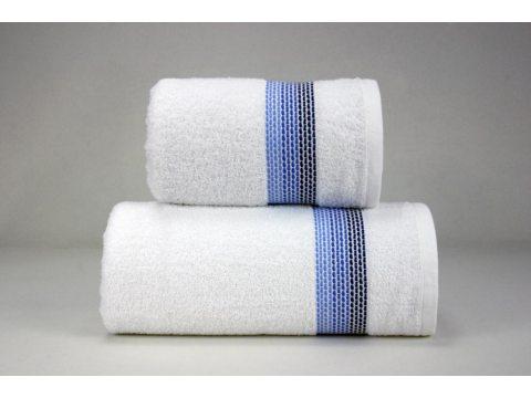 Ręcznik Ombre  - biały z granatową bordiurą - 70x140 cm - Fine Collection - Greno