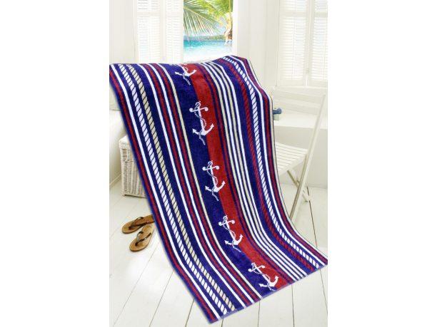 Ręcznik - plażowy - 85x170 cm - kąpielowy  - kotwica - Sea Port - Greno