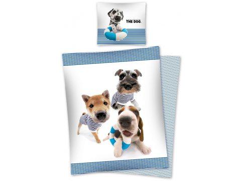 Komplet pościeli dziecięcej - biała, beżowa, brązowa, niebieska - 160x200 cm - The dog and friends - wz. Dog 14