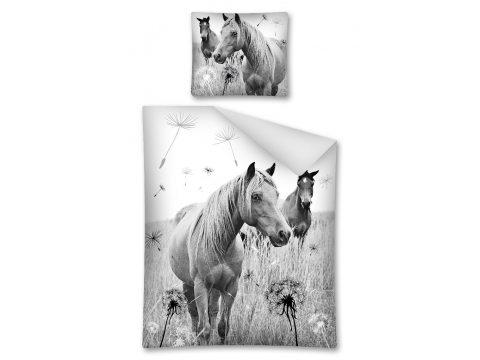 Komplet pościeli dziecięcej - szary, grafitowy, biały - 160x200 cm - Koń 2475 A Horse Ridding