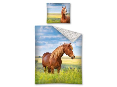 Komplet pościeli dziecięcej - niebieska, zielona, brązowa - 160x200 cm - Koń 2439 A Horse Ridding