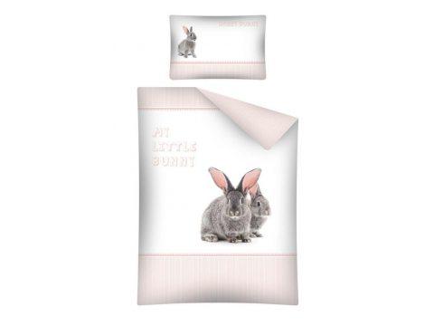Pościel dla dzieci do łóżeczka - biała , szara, morelowa - 100x135 cm - Zajączek 2459 B - Detexpol