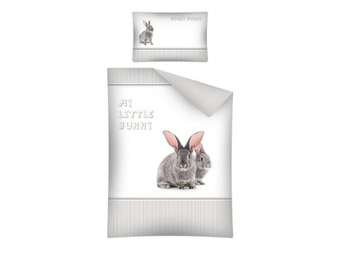 Pościel dla dzieci do łóżeczka - biała , szara, grafitowa - 100x135 cm - Zajączek 2459 A - Detexpol