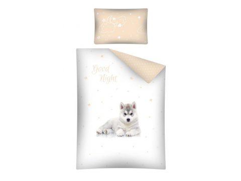 Pościel dla dzieci do łóżeczka - biała, jasno beżowa, szara - 100x135 cm - Pies Husky 2460 A - Detexpol
