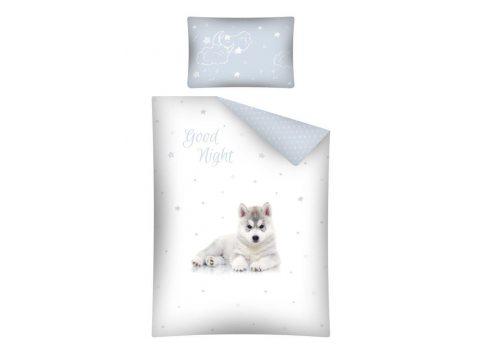 Pościel dla dzieci do łóżeczka - biała, jasno niebieska, szara - 100x135 cm - Pies Husky 2460 B - Detexpol