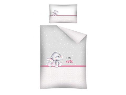 Pościel dla dzieci do łóżeczka - biała, szara, jasno i ciemno różowa - 100x135 cm - Słoń 2461 A - Detexpol