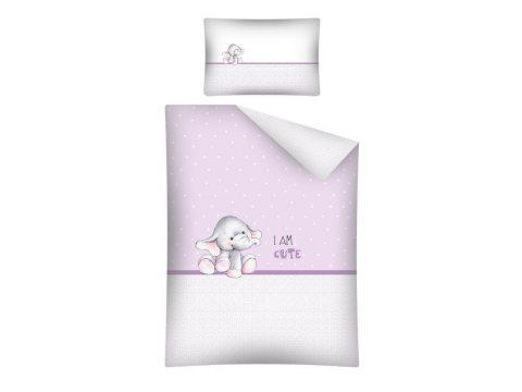 Pościel dla dzieci do łóżeczka - biała, wrzos, jasno różowa - 100x135 cm - Słoń 2461 B - Detexpol