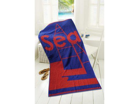 Ręcznik plażowy - 80x160 cm - kąpielowy z łódką - Kapitański Czerwony - Greno