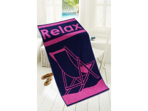 Ręcznik plażowy - 80x160 cm - kąpielowy z leżakiem - Relax Fuksja - Greno