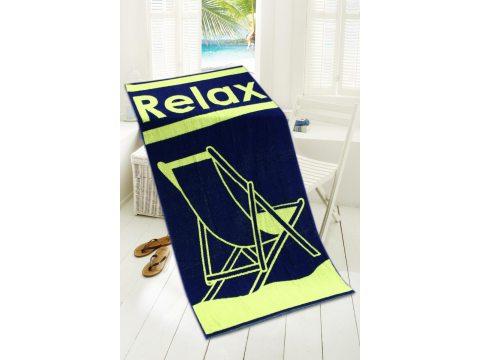 Ręcznik plażowy - 80x160 cm - kąpielowy z leżakiem - Relax Limonka - Greno