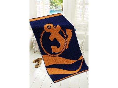 Ręcznik plażowy - 80x160 cm - kąpielowy z kotwicą - Wakacyjny Pomarańczowy - Greno