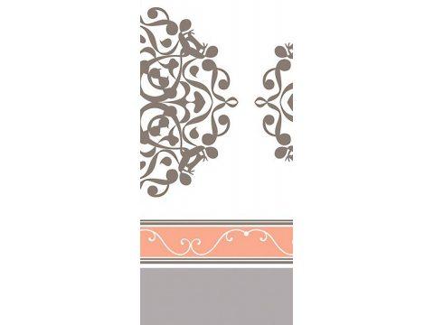 Komplet pościeli satynowej - biała, morelowa, popielata we wzory - 160x200 cm - Orientalna Morelowa - Bielbaw
