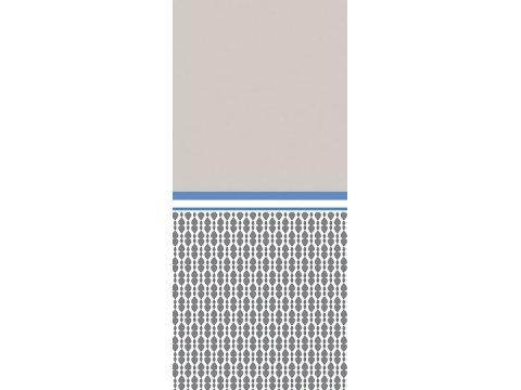 Pościel Satynowa - popielata, szara, biała, ciemno niebieska we wzorki - 220x200 cm - Chic Popielata - Bielbaw