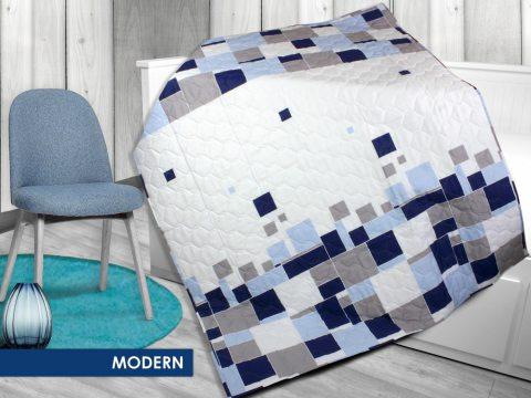 Kołderka - Narzuta - na lato, lekka - biała, niebieska, granatowa, szara - 170x210 cm - Modern - Bielbaw