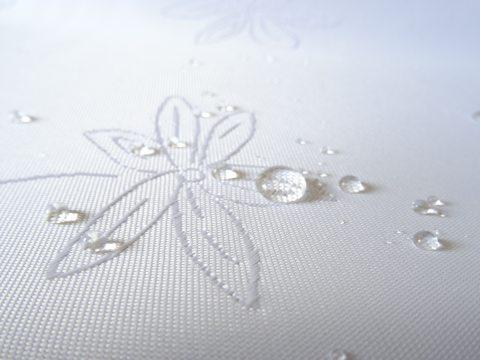 Obrus plamoodporny -Koniczynka- 140 x 450 cm - biały