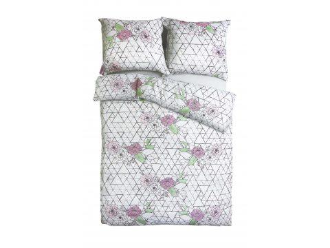 Komplet pościeli satynowej - Sweet Home - w kwiatki i trójkąty - 160x200 cm - Bonus 12 - wz. 18573/1 - Andropol