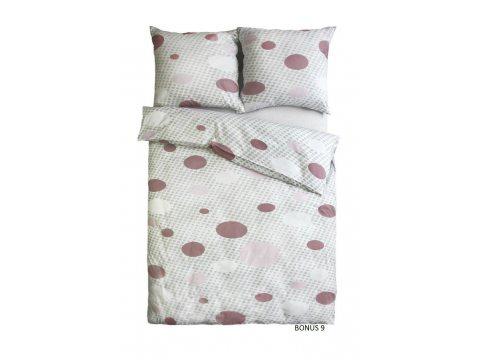 Pościel z satyny bawełnianej - Sweet Home - białe, szare, różowe kropki - 160x200 cm - Bonus 9 - wz. 18579/2 - Andropol