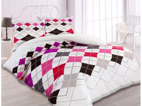 Pościel flanelowa  - 140x200  - biała, szara, czerwona, różowa kratka -  wz.31443/2