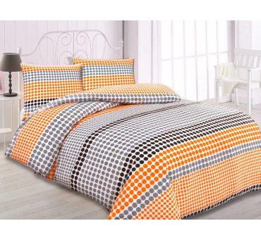 Kpl. Pościeli flanelowej - 140x200  -  szare, pomarańczowe fantazyjne kropeczki -  wz.31440/2